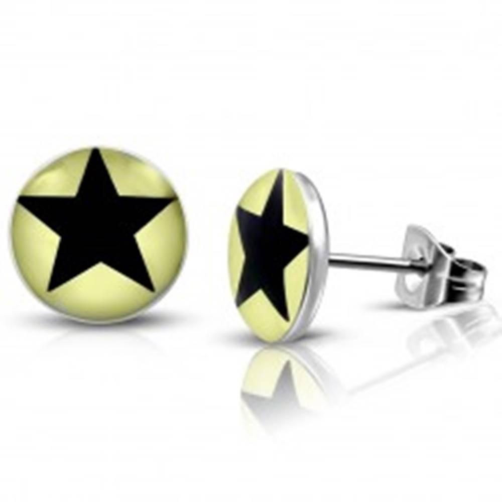 Šperky eshop Oceľové náušnice - svetložlté krúžky s čiernou hviezdičkou, puzetky