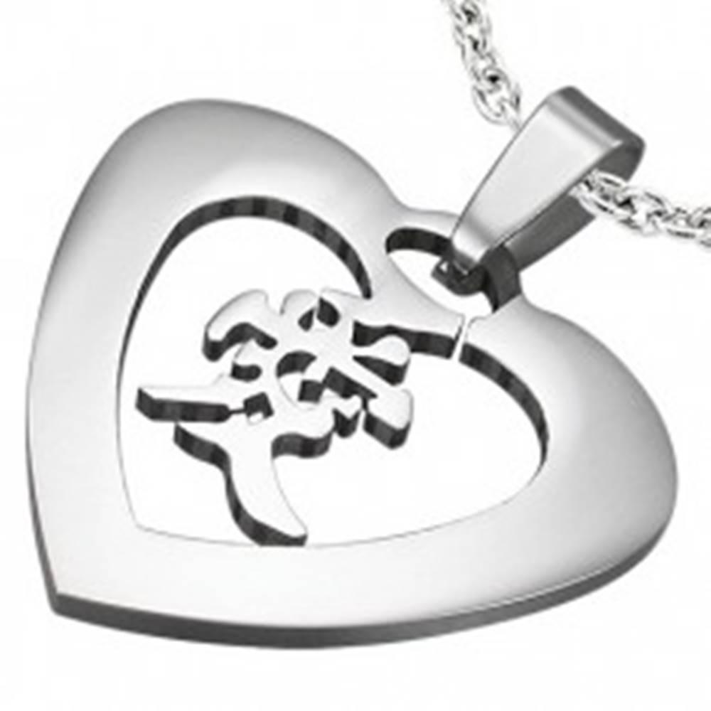 """Šperky eshop Oceľový prívesok striebornej farby - srdce s čínskym znakom """"láska"""""""