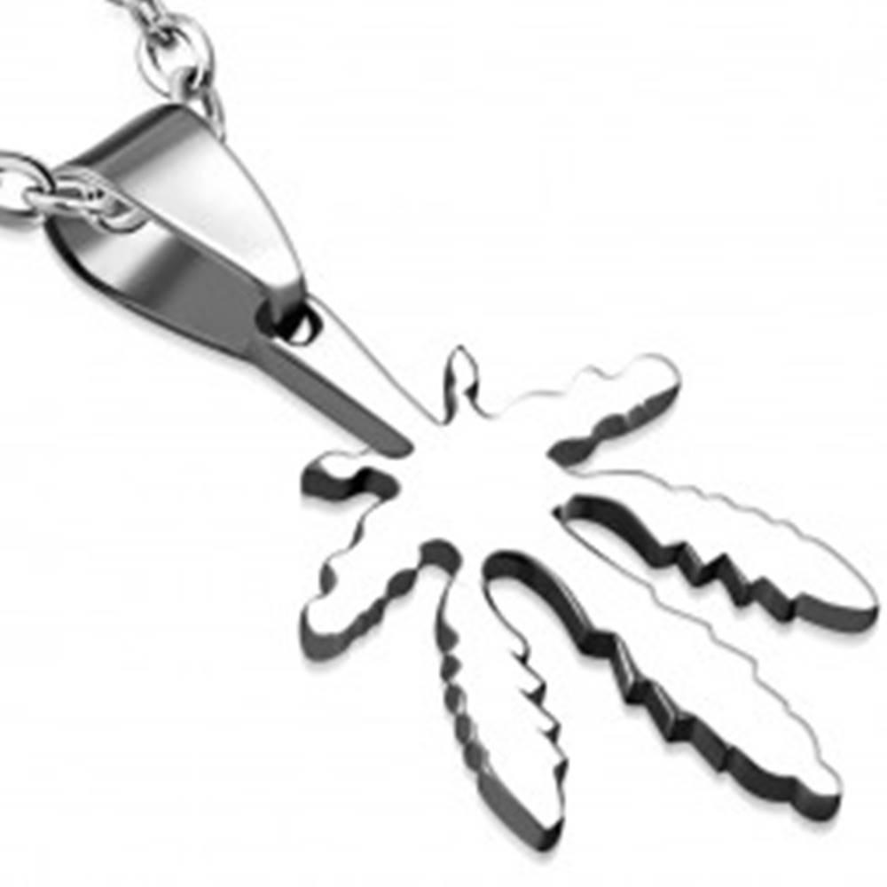 Šperky eshop Prívesok striebornej farby z chirurgickej ocele - marihuanový list