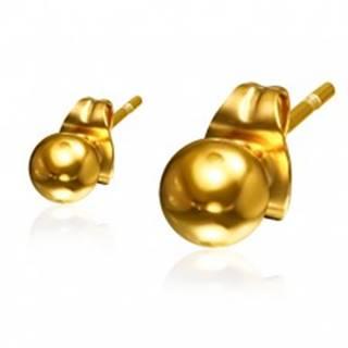Guličkové oceľové náušnice zlatej farby, 4 mm