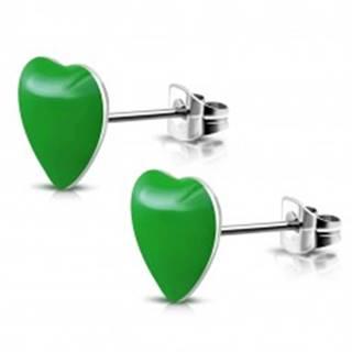 Oceľové náušnice so zelenými srdiečkami a puzetkami