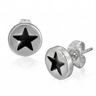 Puzetové náušnice z ocele - čierna hviezda v kruhu