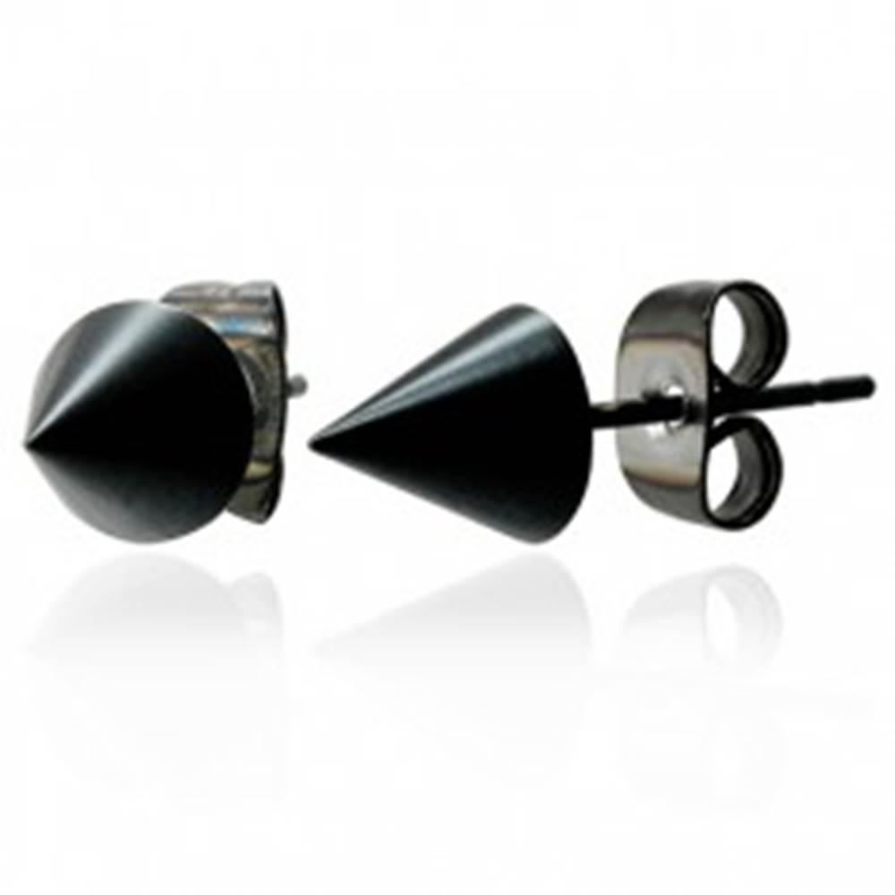 Šperky eshop Lesklé čierne náušnice v tvare kužeľa z chirurgickej ocele, 6 mm