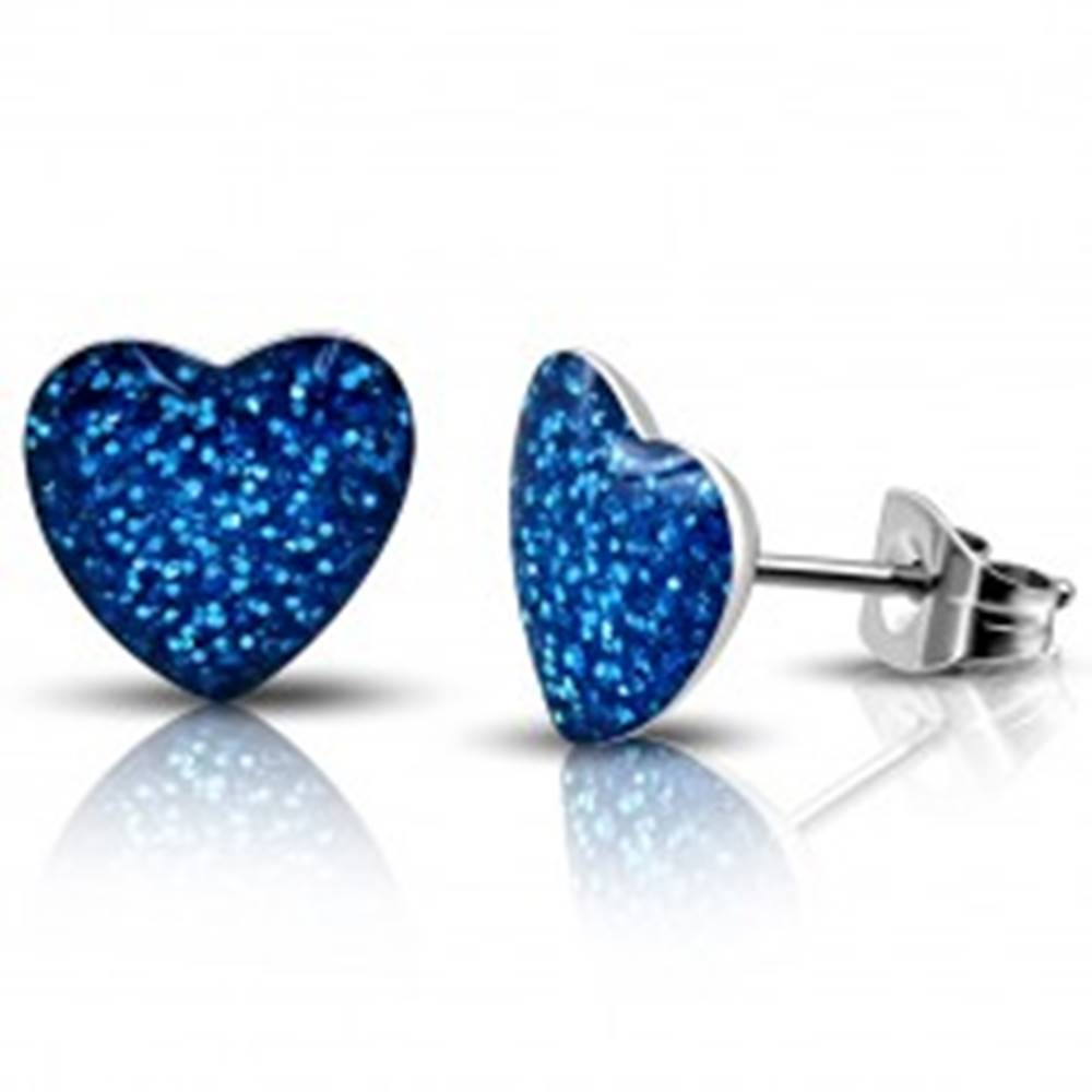 Šperky eshop Oceľové náušnice - modré trblietavé srdce, puzetky