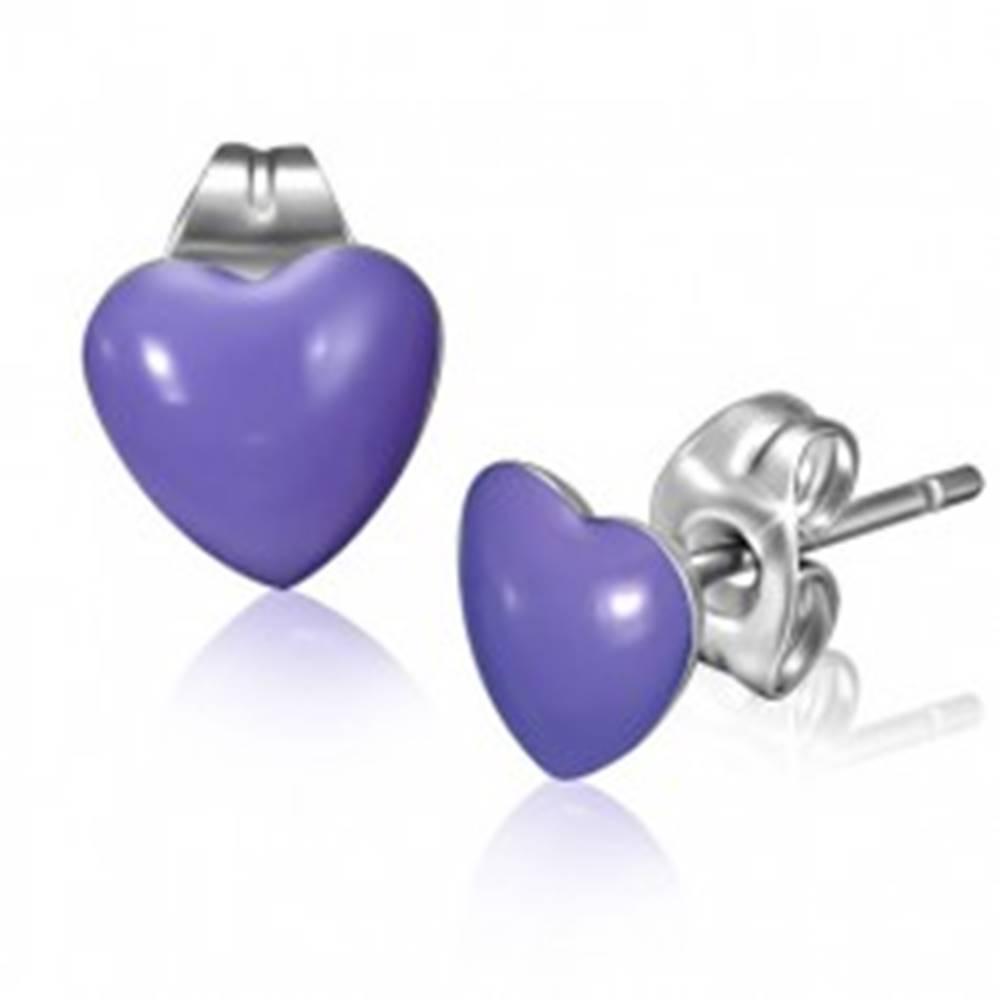 Šperky eshop Oceľové náušnice s fialovými srdiečkami a puzetkami