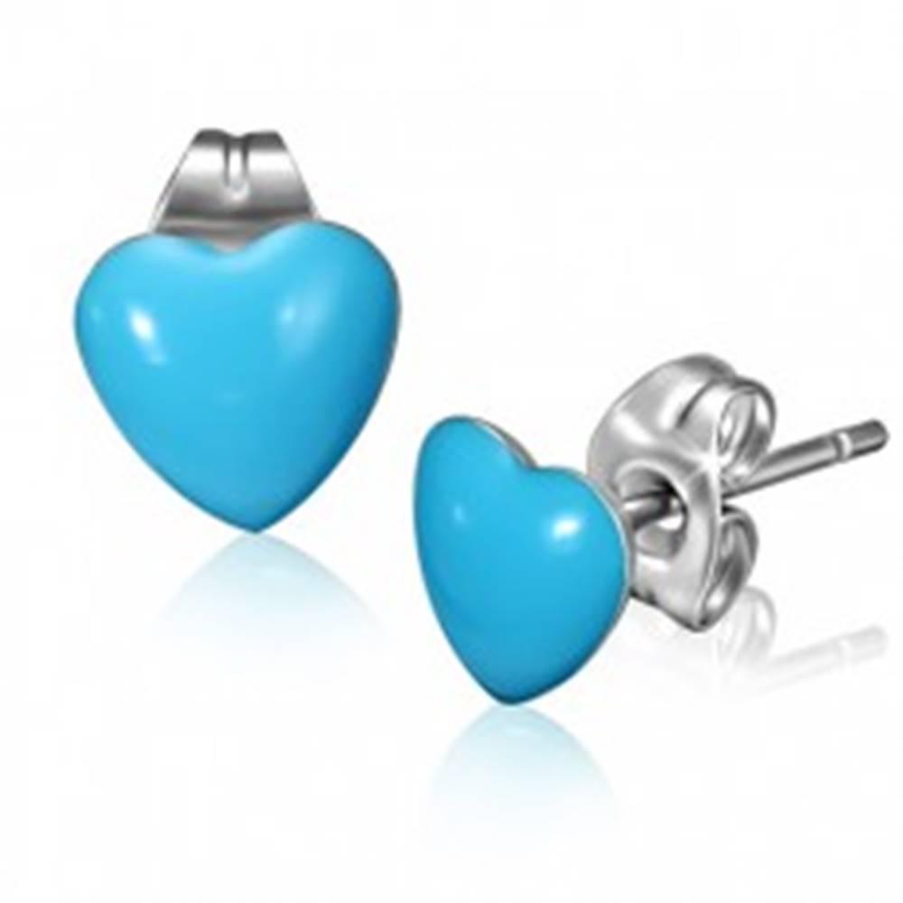 Šperky eshop Oceľové náušnice s modrými srdiečkami a puzetkami