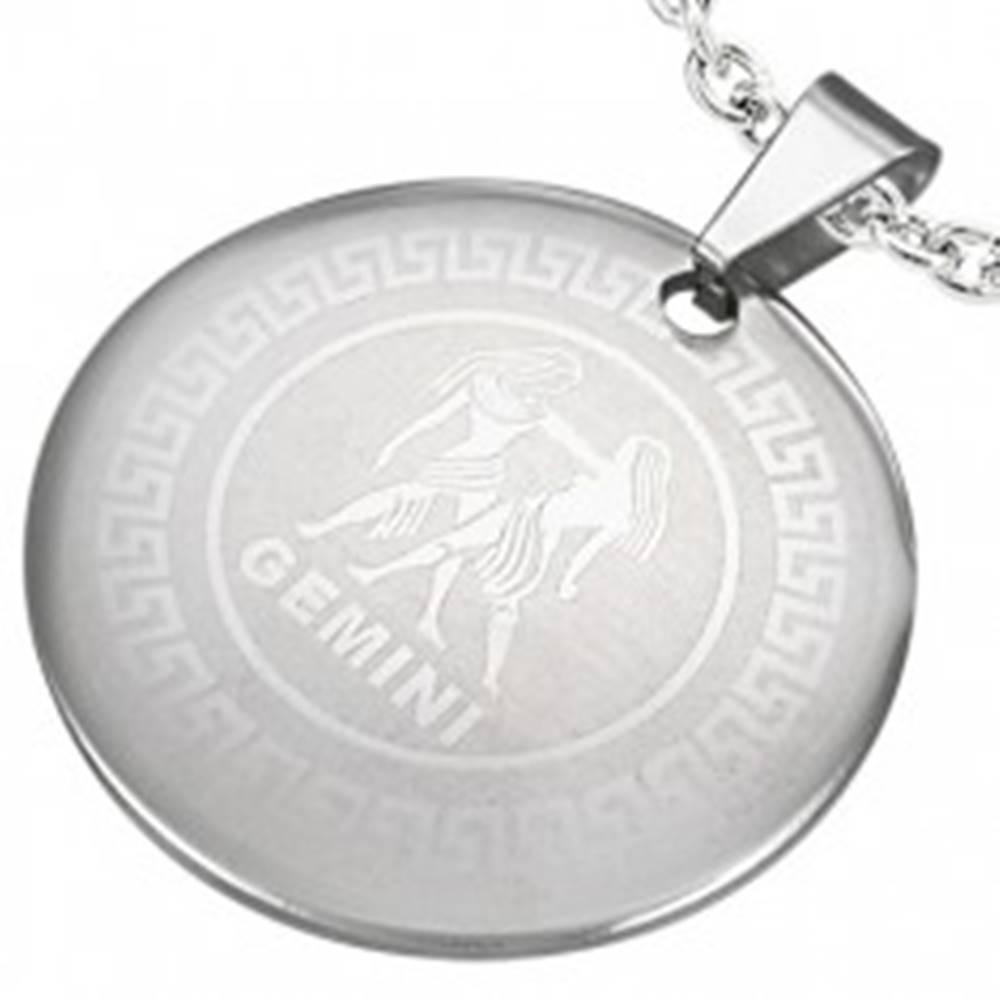 Šperky eshop Oceľový prívesok - kruh so znamením zverokruhu BLÍŽENCI
