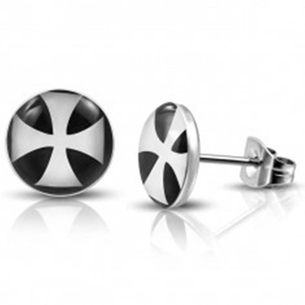 Šperky eshop Okrúhle náušnice z chirurgickej ocele s bielym maltézskym krížom