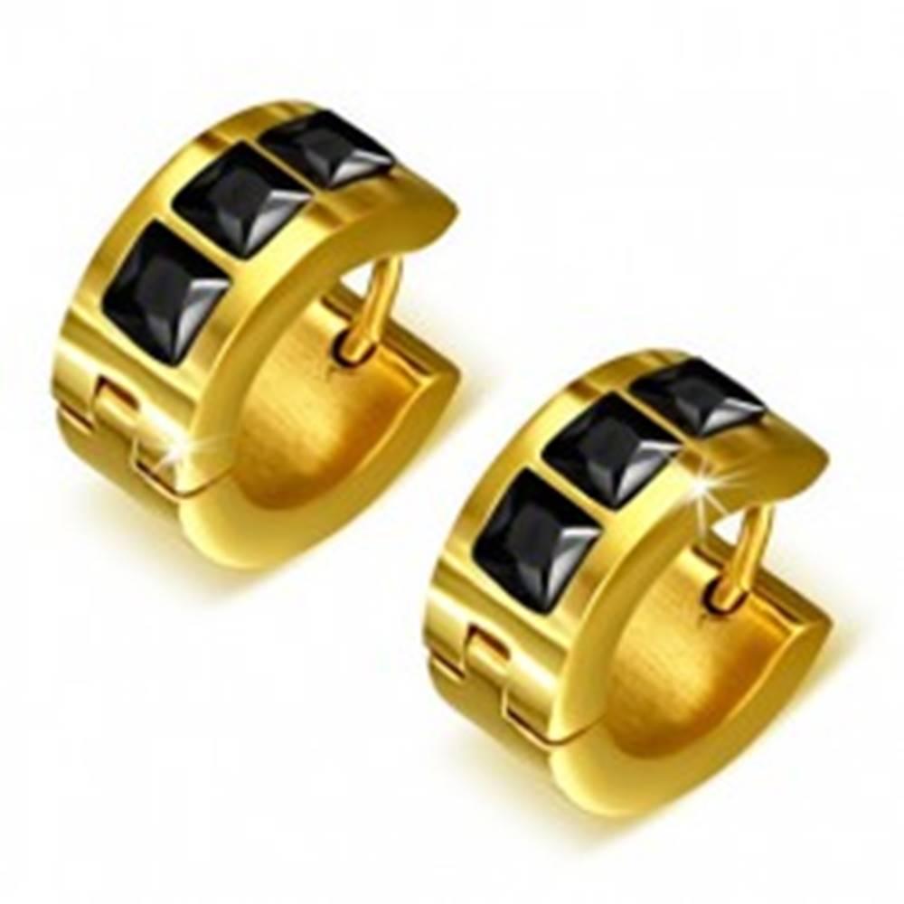 Šperky eshop Okrúhle náušnice zlatej farby z ocele, tri čierne štvorcové kamienky