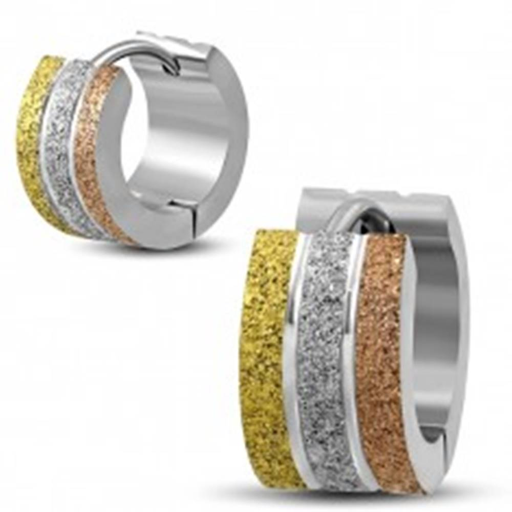 Šperky eshop Okrúhle oceľové náušnice - trojfarebné pieskované krúžky