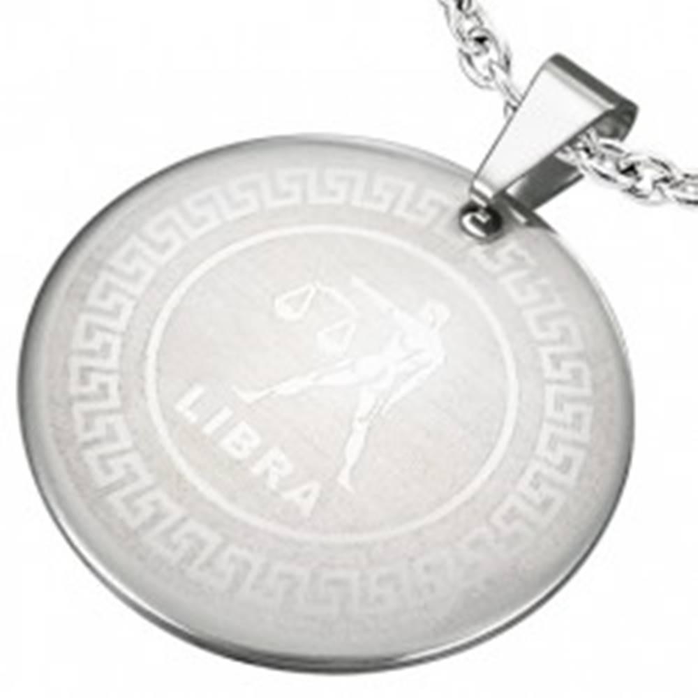 Šperky eshop Prívesok z chirurgickej ocele - znamenie zverokruhu VÁHY v kruhu