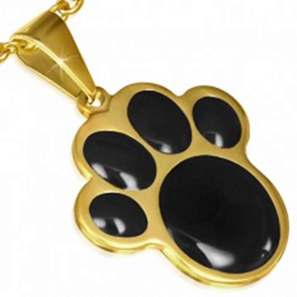 Šperky eshop Prívesok z ocele zlatej farby, čierna zvieracia labka