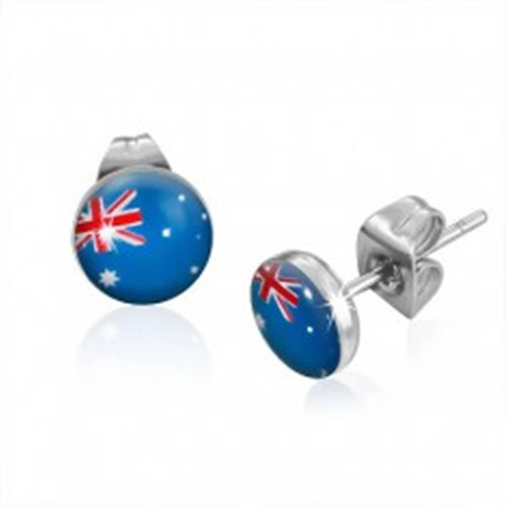 Šperky eshop Puzetové náušnice z ocele - vlajka Austrálie