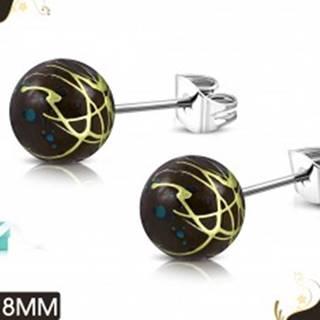 Oceľové náušnice, hnedé akrylové guličky s farebnými líniami a škvrnami