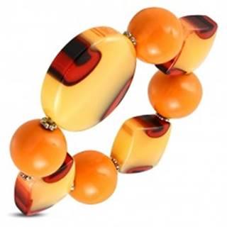 Pružný náramok - oranžové guľôčky, mliečne sklo s oranžovým nádychom, očká