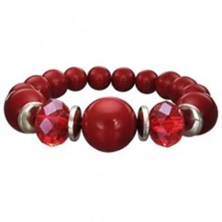 Strečový náramok bordovej farby - guličky rôznej veľkosti, brúsené červené korálky