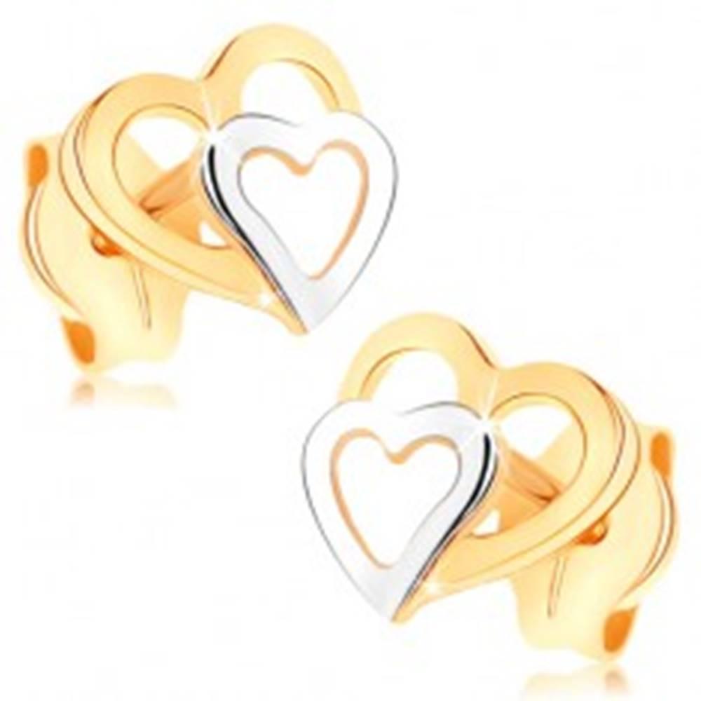 Šperky eshop Náušnice z 9K zlata - dvojfarebné obrysy srdiečok, puzetky, vysoký lesk