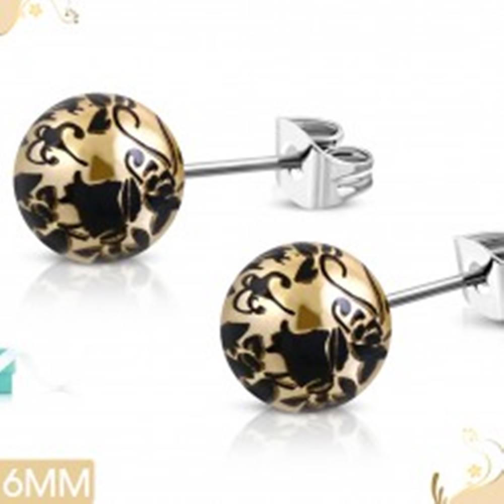 Šperky eshop Oceľové náušnice, akrylové guličky zlatohnedej farby s čiernymi kvetmi