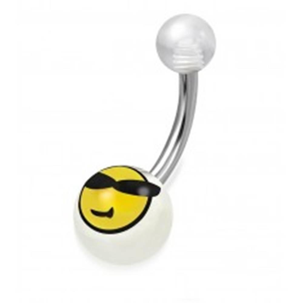 Šperky eshop Piercing do brucha, chirurgická oceľ a akryl - priehľadné guličky, smajlík s okuliarmi