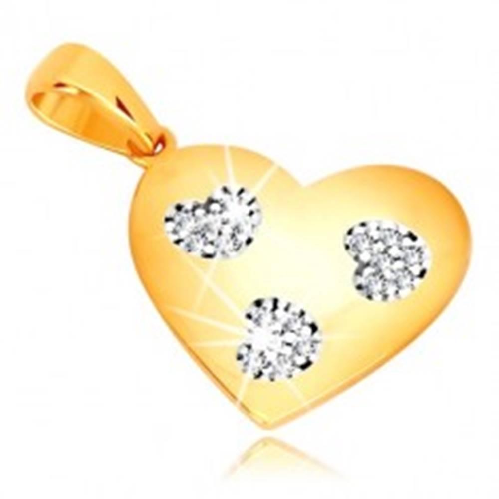 Šperky eshop Prívesok v žltom zlate 585 - symetrické srdce so srdiečkovými výrezmi, zirkóny