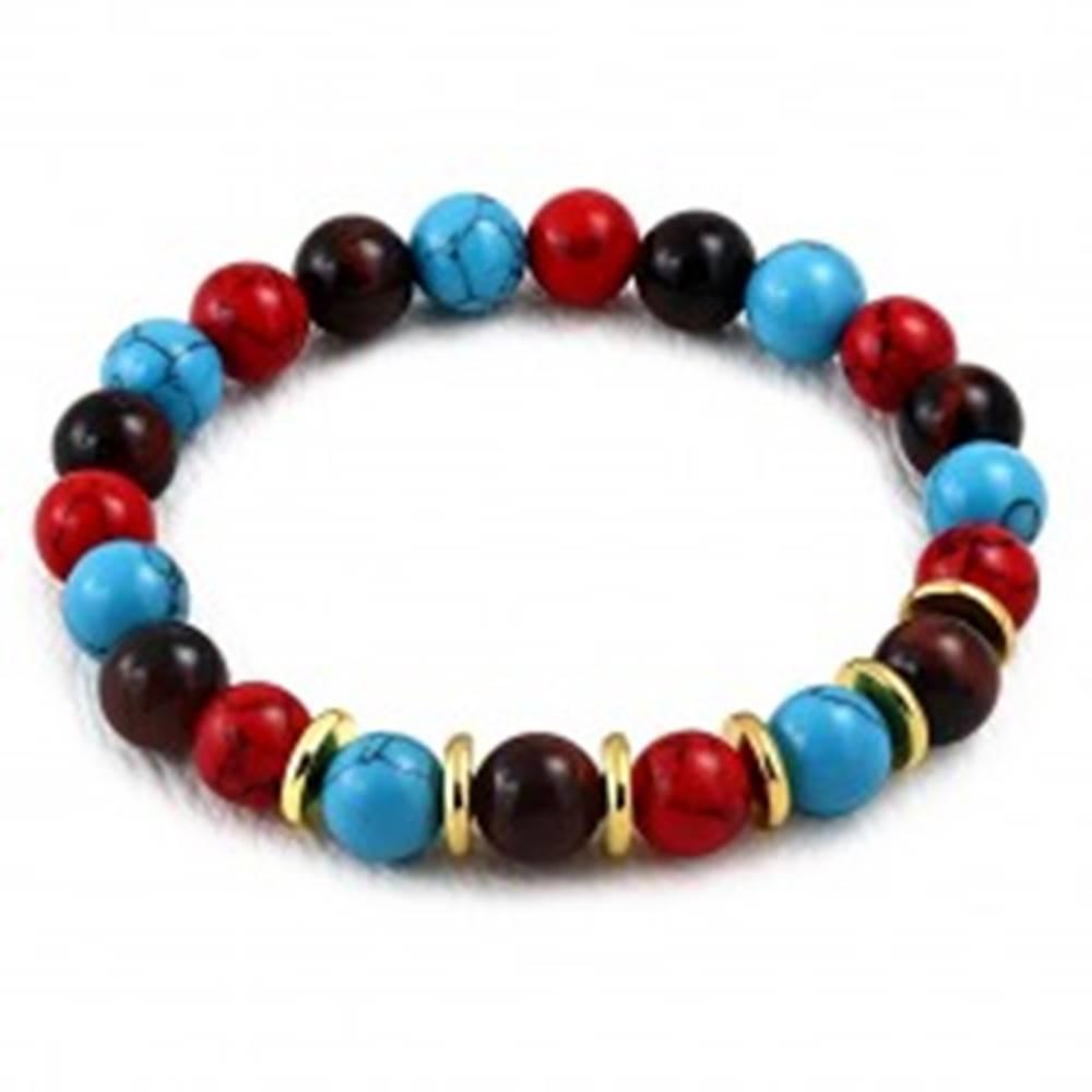 Šperky eshop Pružný náramok - syntetické tygrie oko, guličky čiernej a červenej farby