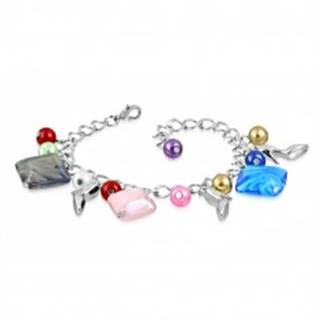 Náramok - lesklá retiazka, lodičky, farebné syntetické perličky a korálky