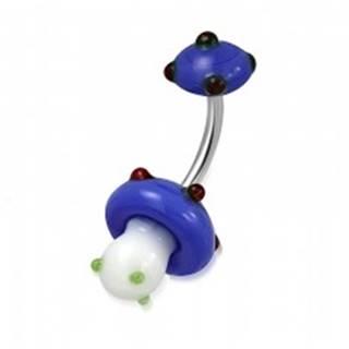 Piercing do bruška z chirurgickej ocele - bielo-modrá hubka, farebné guličky