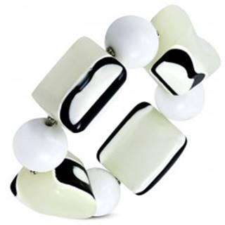 Strečový náramok - biele guľôčky, korálky z mliečneho skla, čierno-biele očká
