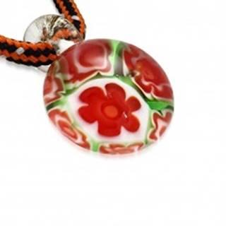 Trojfarebný šnúrkový náhrdelník - okrúhly prívesok zo skla, kvety
