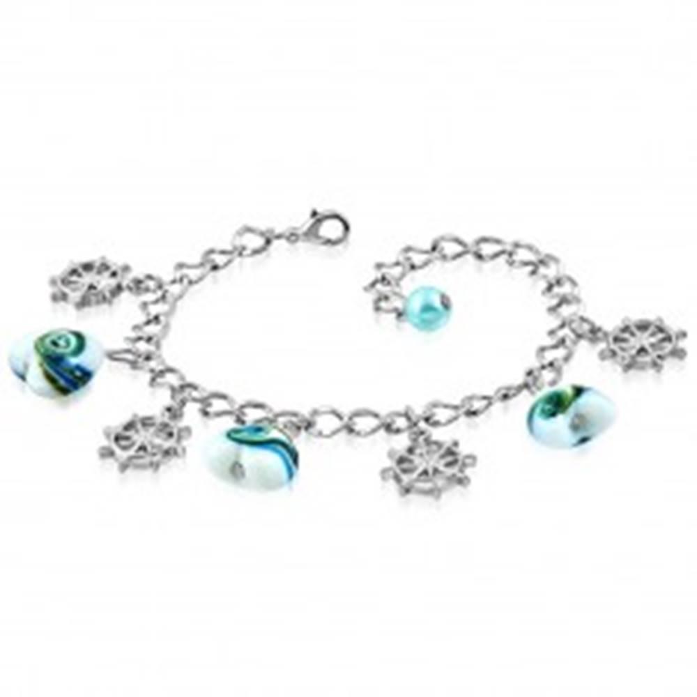 Šperky eshop Náramok - obrátené srdiečka s vlnkami a kormidlá, lesklá retiazka