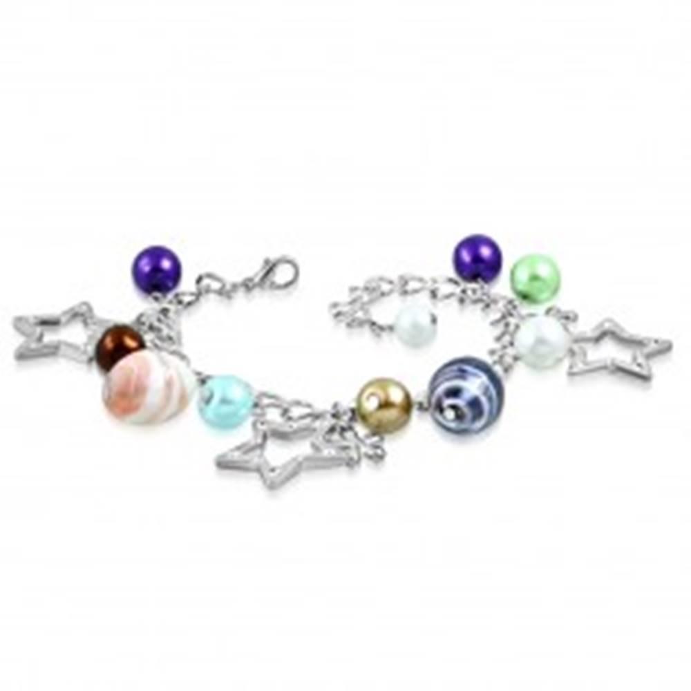 Šperky eshop Náramok - syntetické perly, dvojfarebné korálky, kontúry hviezd a kvety