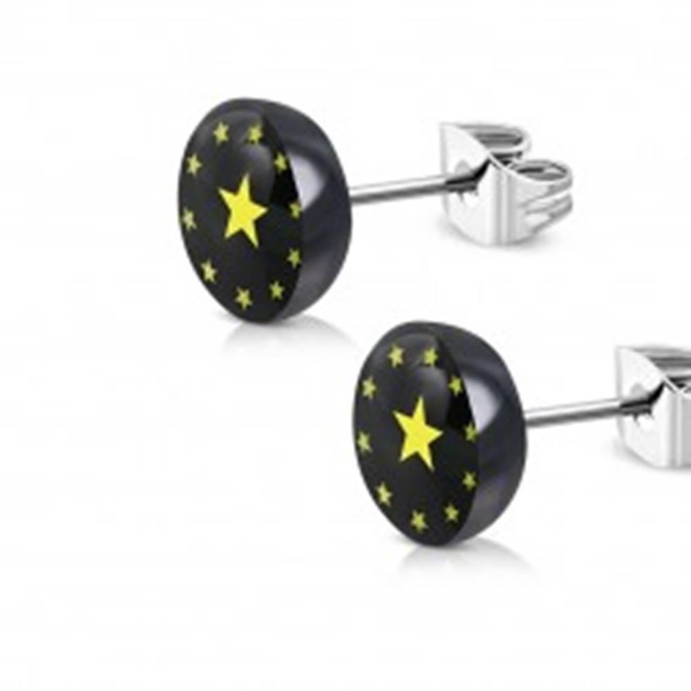Šperky eshop Náušnice z ocele a akrylu - čierny krúžok, päťcípe hviezdičky, číra glazúra