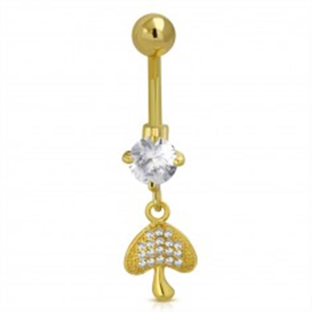 Šperky eshop Oceľový piercing do bruška zlatej farby - hubka, trblietavé číre zirkóny