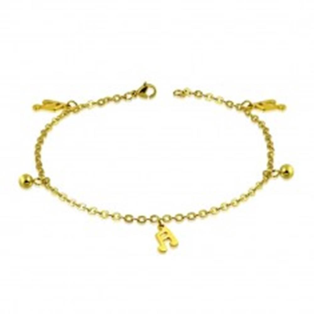 Šperky eshop Náramok zlatej farby z ocele - guľôčky, šestnástinové noty