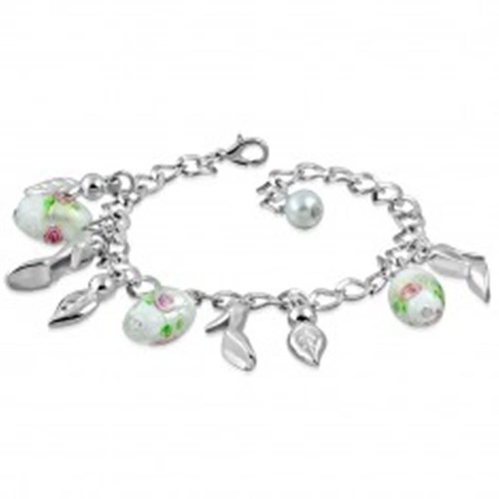 Šperky eshop Retiazkový náramok s príveskami - lístky, lodičky, korálky s motívom ruže