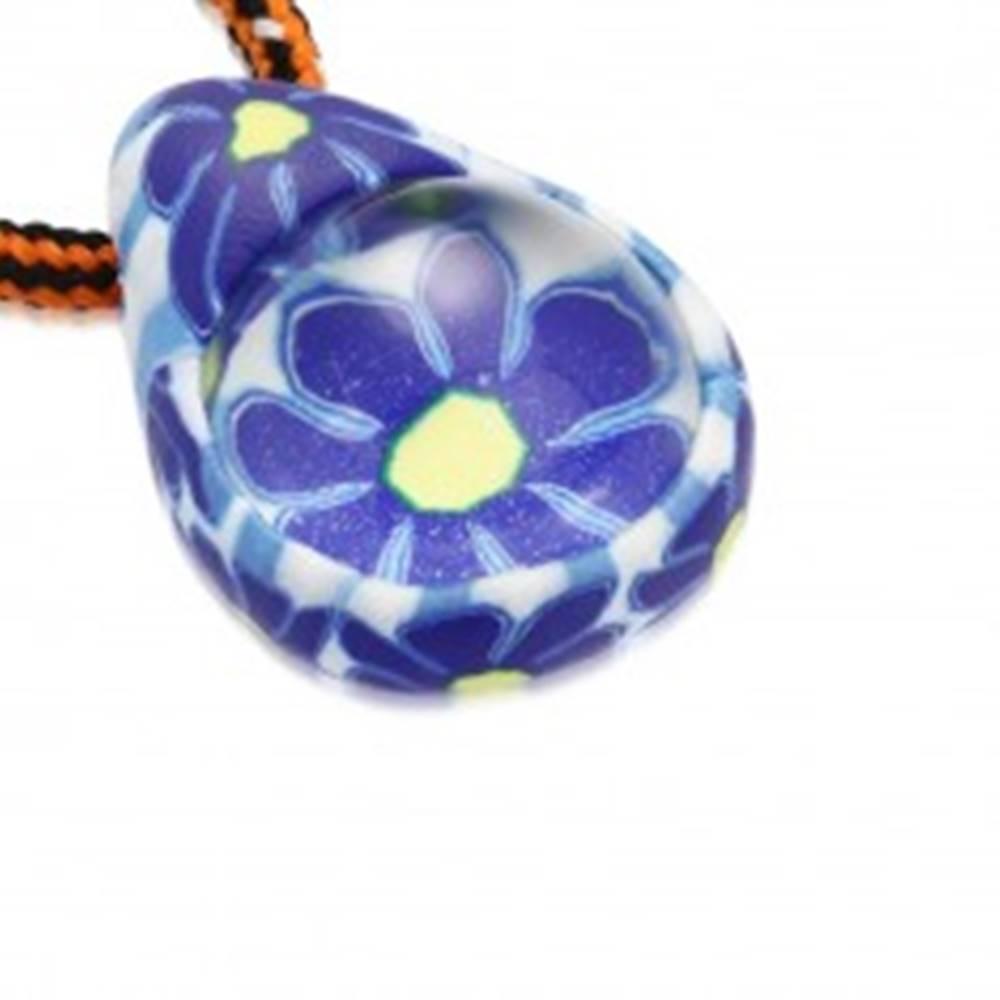 Šperky eshop Šnúrkový náhrdelník - FIMO slza s modrými kvietkami, sklenená guľôčka