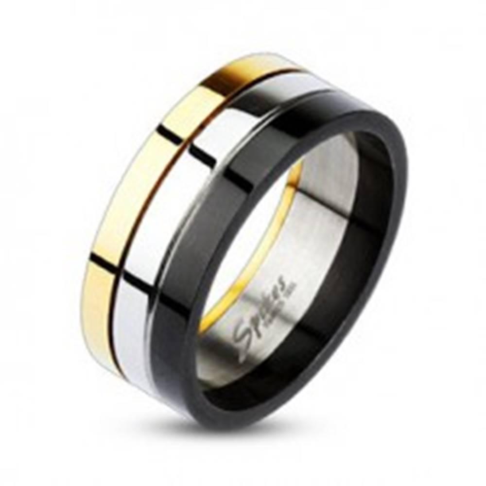 Šperky eshop Lesklý trojfarebný prsteň z ocele - Veľkosť: 58 mm