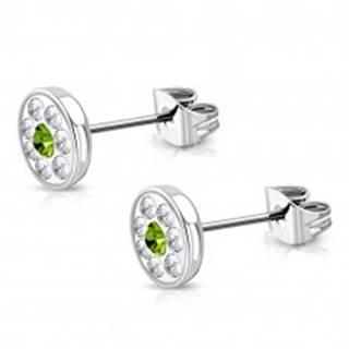 Náušnice z chirurgickej ocele - okrúhly kvietok so Swarovski® elementmi, zelený zirkón