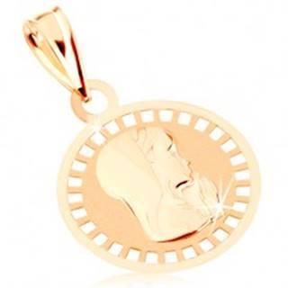 Prívesok zo žltého 9K zlata - okrúhly medailón s Pannou Máriou, lesklo-matný