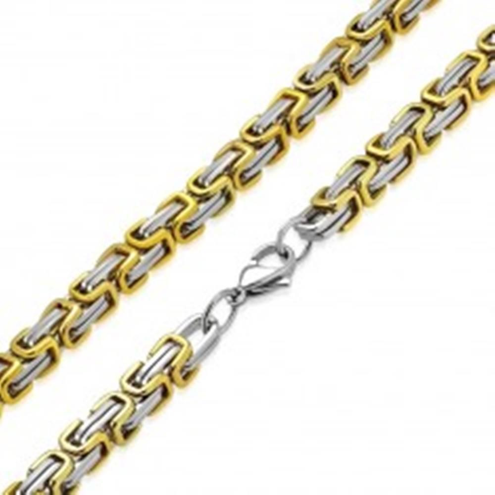 Šperky eshop Dvojfarebná retiazka z chirurgickej ocele - strieborno-zlatá farba, byzantský vzor, 9 mm