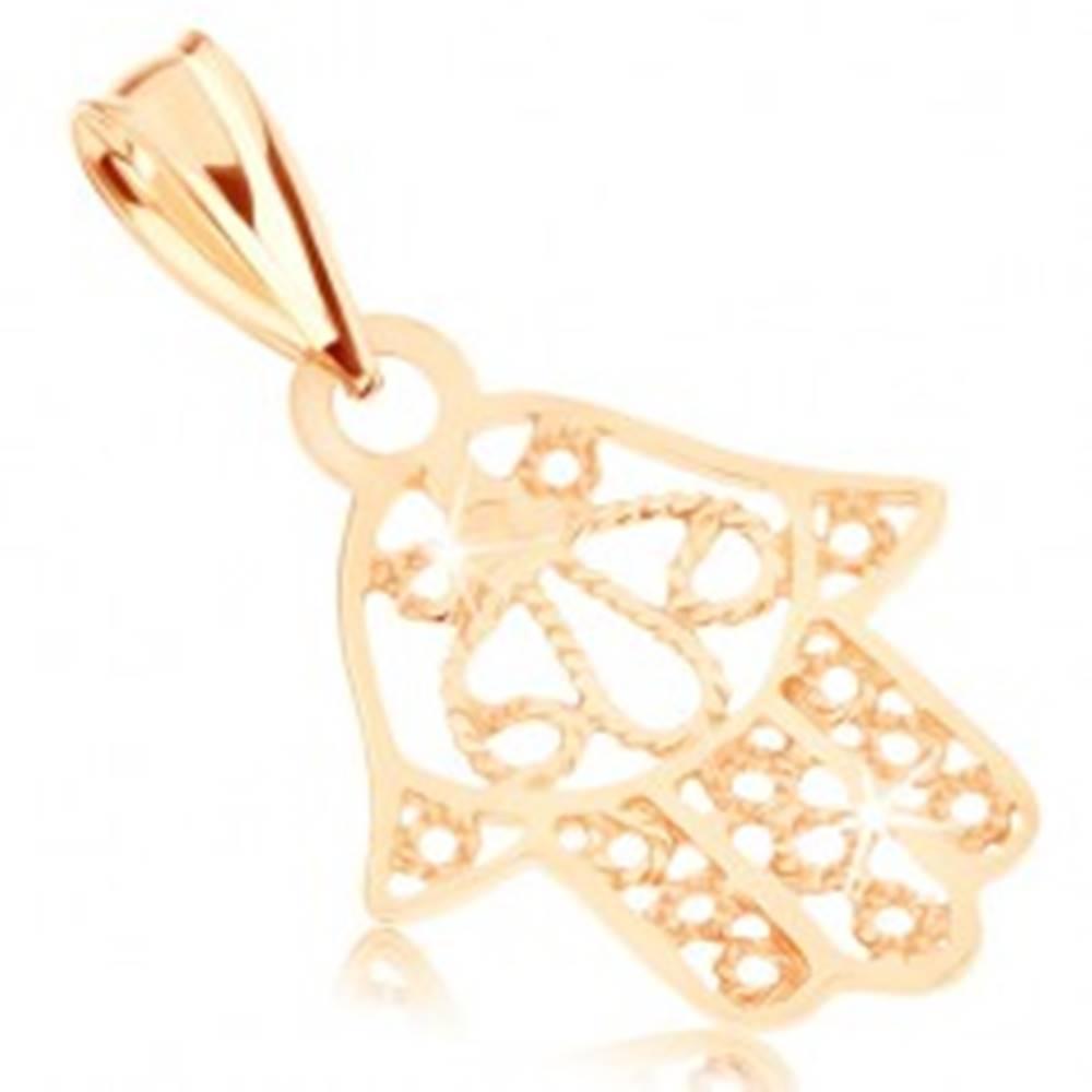 Šperky eshop Prívesok zo žltého 9K zlata - ruka Fatimy, ozdobné výrezy