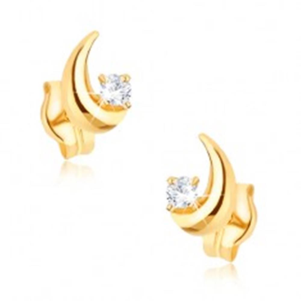 Šperky eshop Zlaté náušnice 375 - ligotavý kosák mesiaca, okrúhly číry zirkón