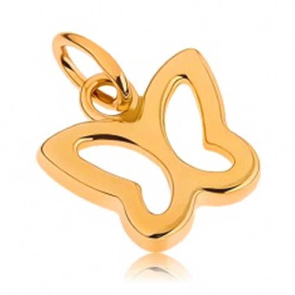 Šperky eshop Zlatý prívesok 375 - lesklá kontúra malého motýlika