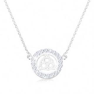 Strieborný 925 náhrdelník - keltský uzol, zirkóny, špirálovitá retiazka