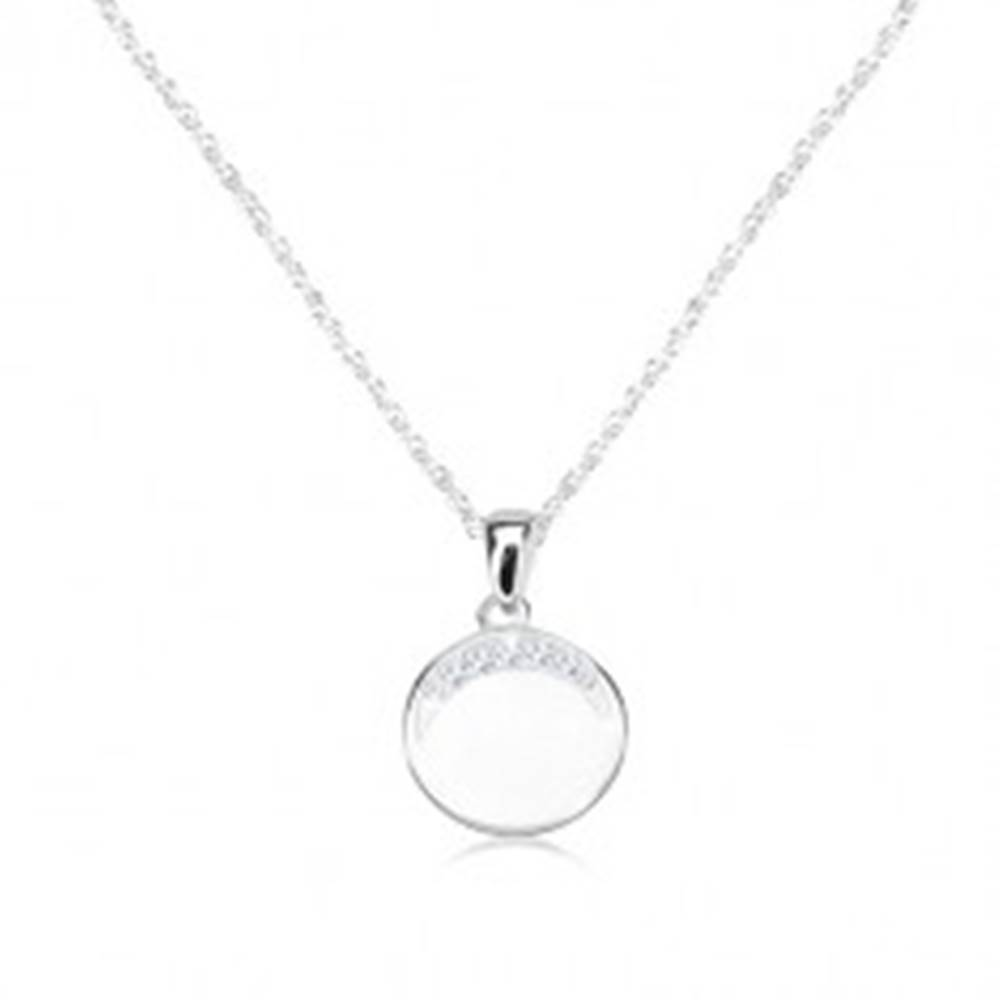 Šperky eshop Náhrdelník zo striebra 925, okrúhly prívesok so zirkónovým polmesiacom
