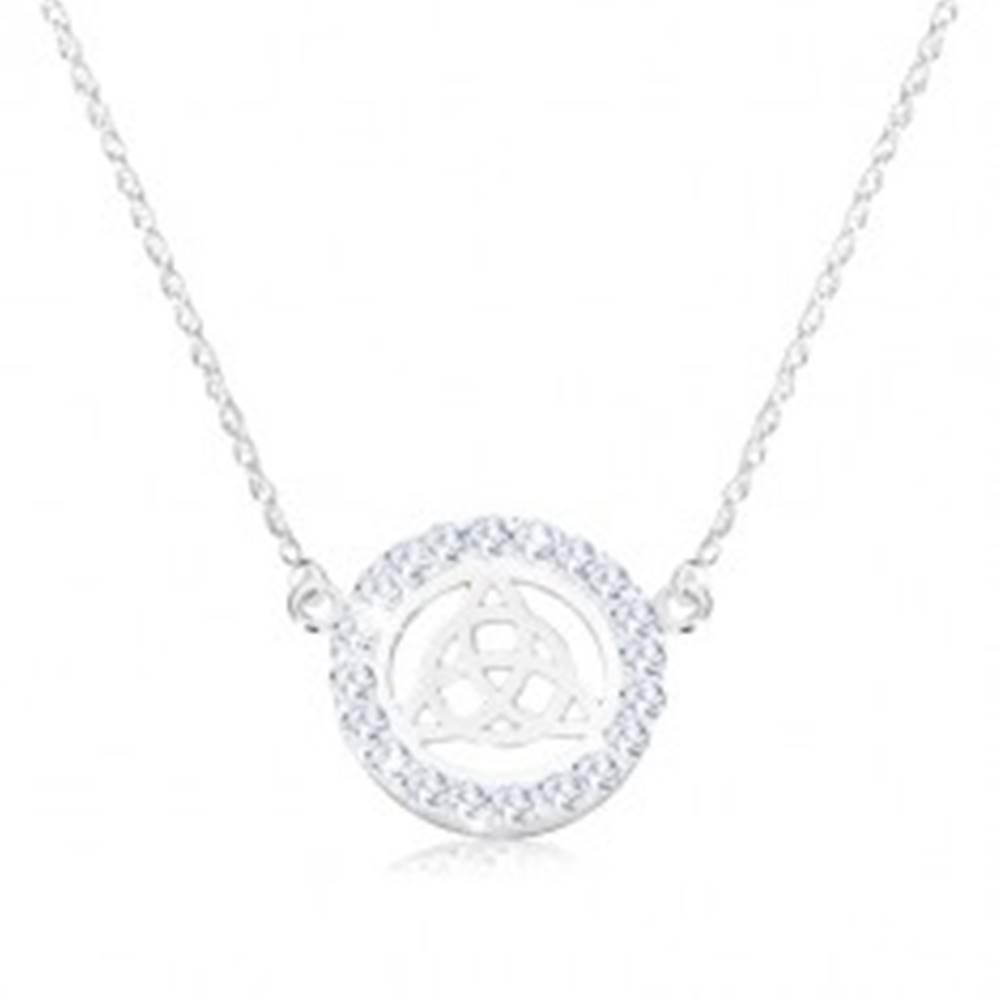 Šperky eshop Strieborný 925 náhrdelník - keltský uzol, zirkóny, špirálovitá retiazka