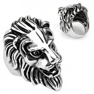 Oceľový prsteň - veľká levia hlava - Veľkosť: 59 mm