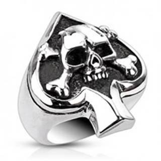 Prsteň z ocele s kartovým symbolom a lebkou - Veľkosť: 51 mm