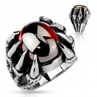 Mohutný prsteň z ocele 316L, oválny tmavočervený zirkón v pazúroch - Veľkosť: 60 mm