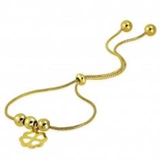 Oceľový náramok zlatej farby - štvorlístok pre šťastie, guľôčky, vzor hadej kože